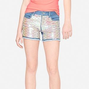 flip sequin denim midi shorts